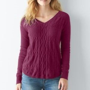 Sonoma Cable Knit V-Neck Sweater Maroon Red XXL